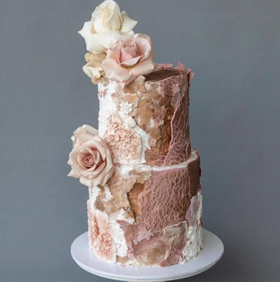 Rose Gold fondant textured wedding cake