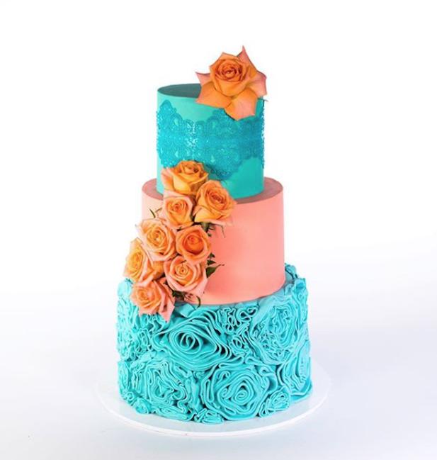 Turquoise and coral fondant wedding cake