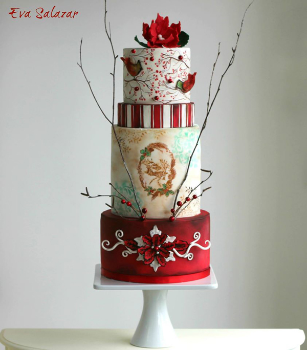 White with red fondant holiday wedding cake
