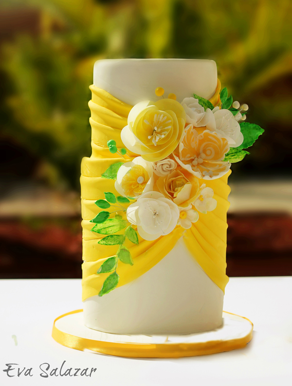 Yellow and white fondant wedding cake