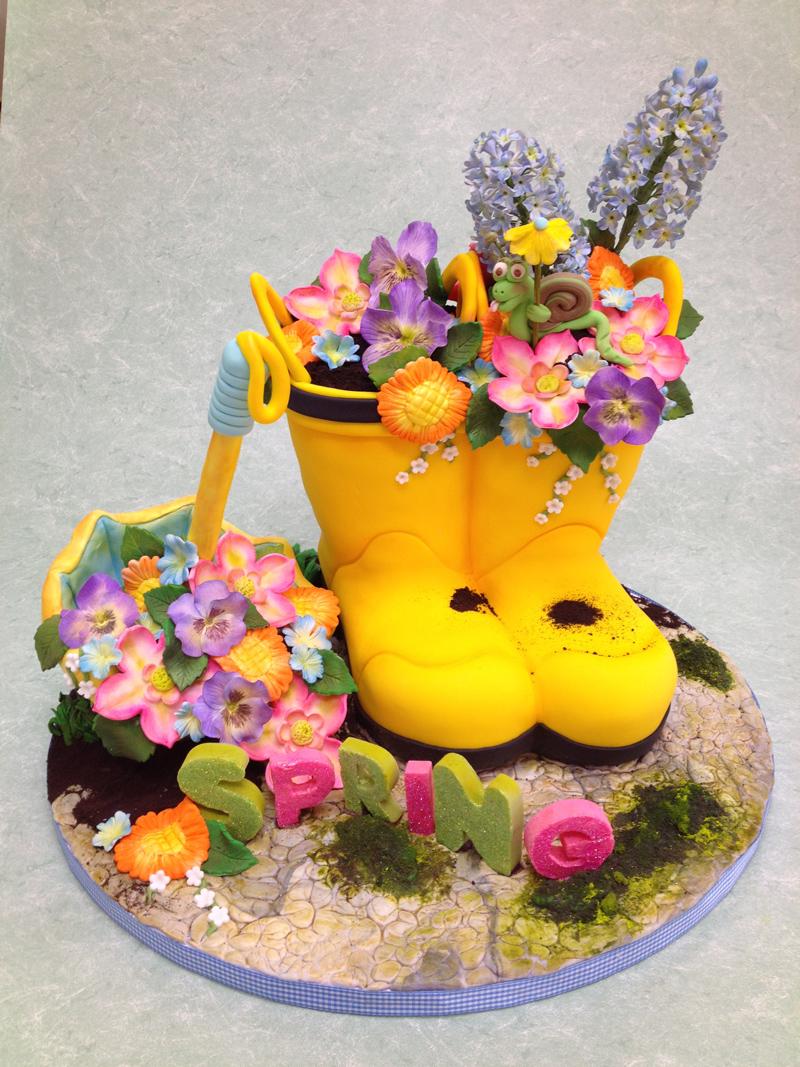 Rain boots fondant cake