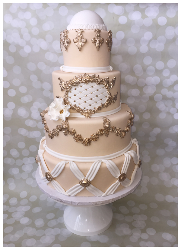 Taupe fondant Wedding Cake with gold trim