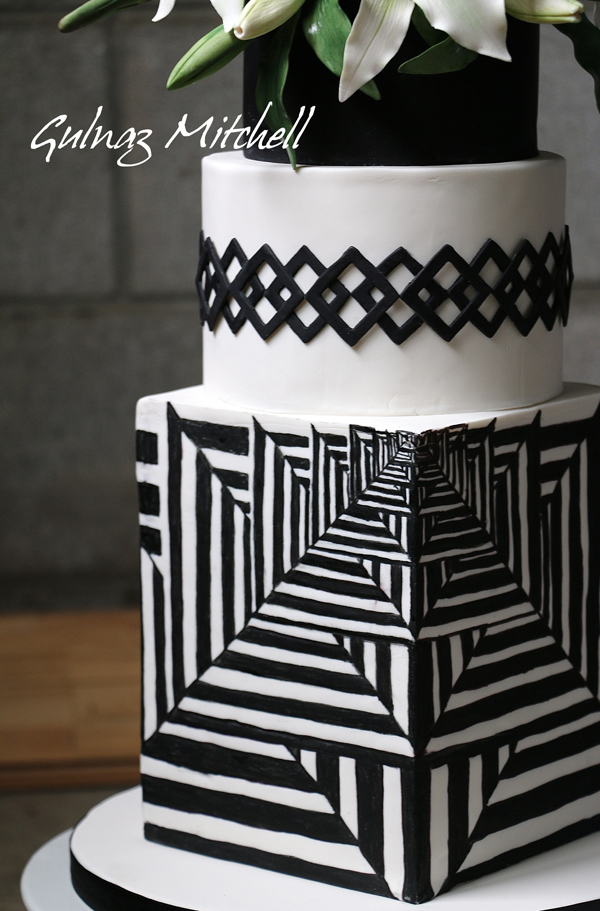 Black and white patterned fondant cake