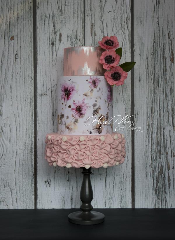 White and pink ruffle fondant cake