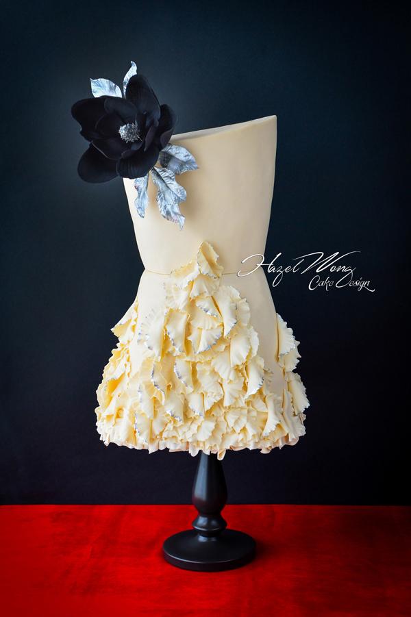Ivory fashion dress fondant cake