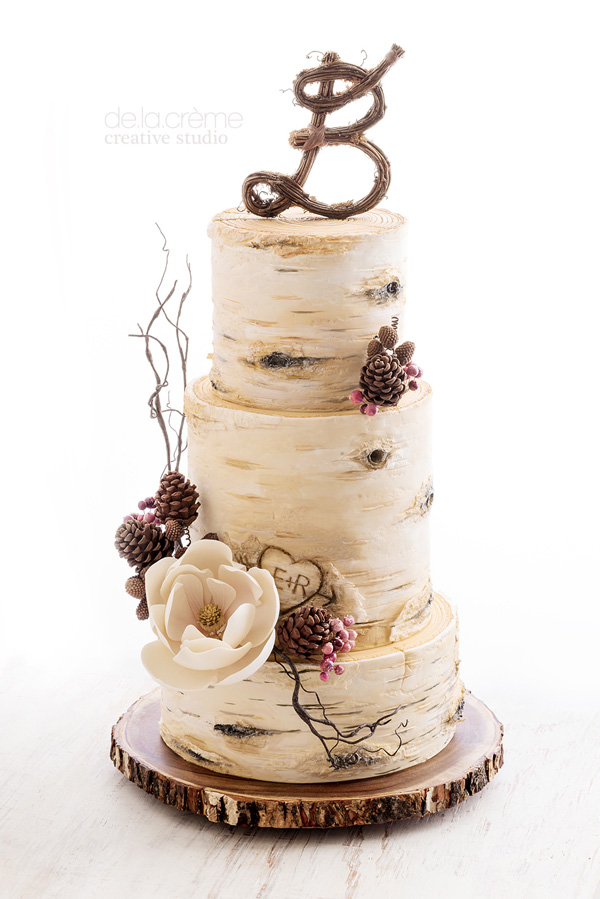 White Birch Tree Wedding cake