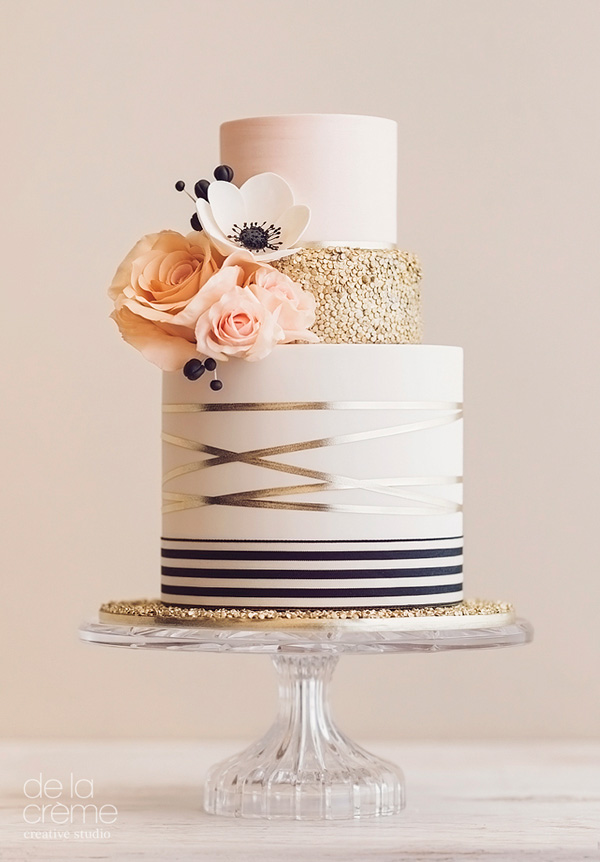 Rose gold and peach fondant wedding cake