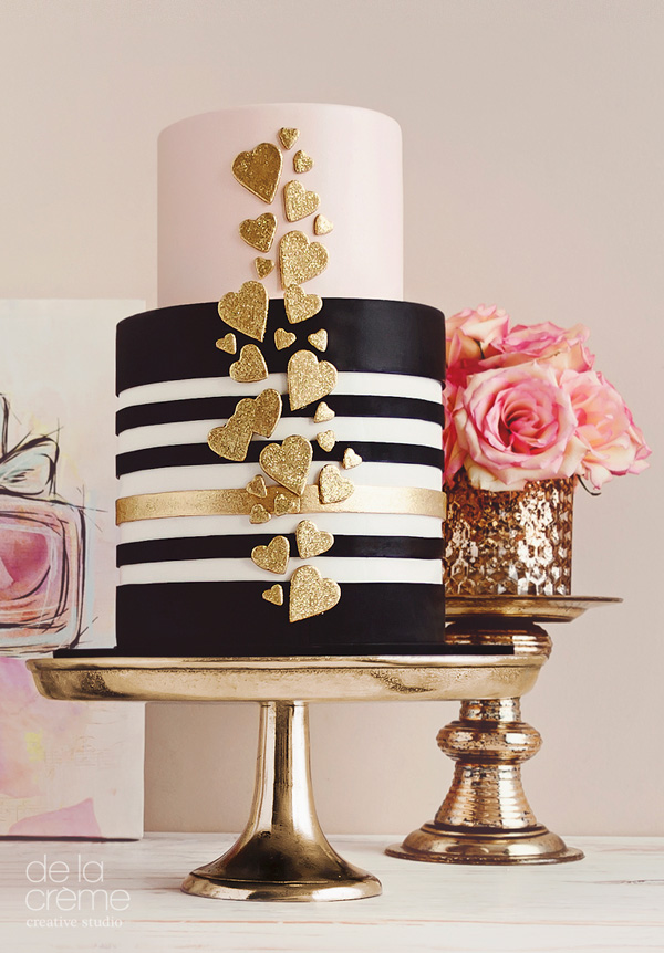 Black and white striped fondant cake with gold