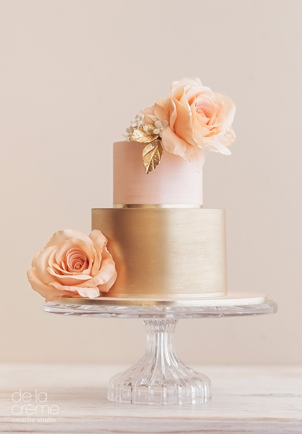 peach and gold fondant wedding cake