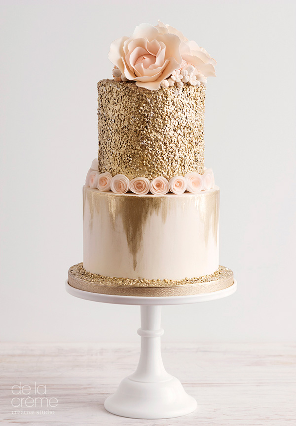 Rose gold fondant Glitter wedding cake