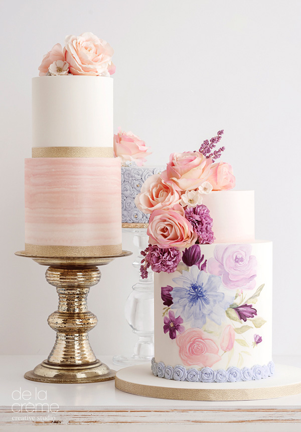 Hand Painted Floral fondant wedding cake