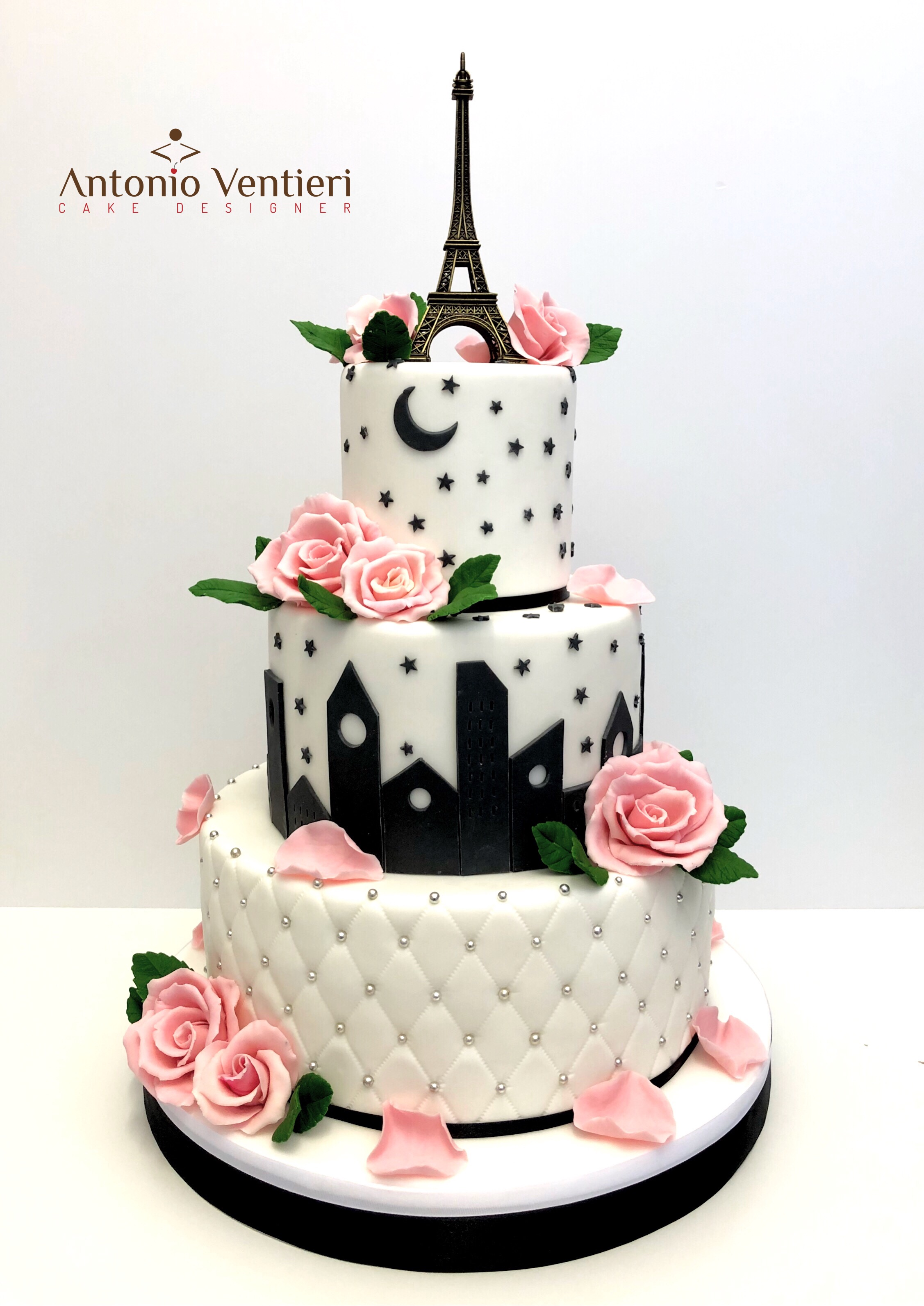 Black and white venetian birthday cake