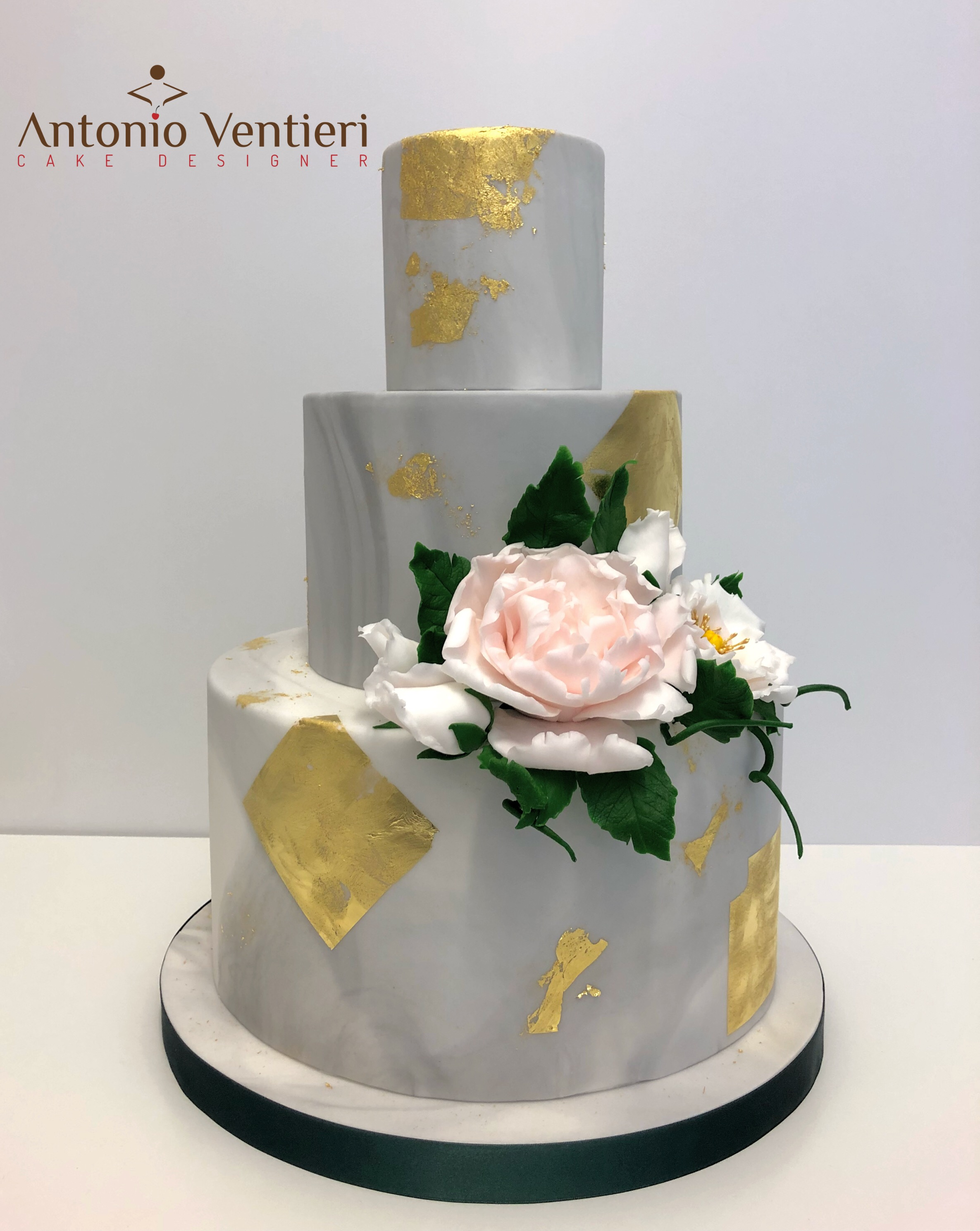 Gray with gold wedding cake