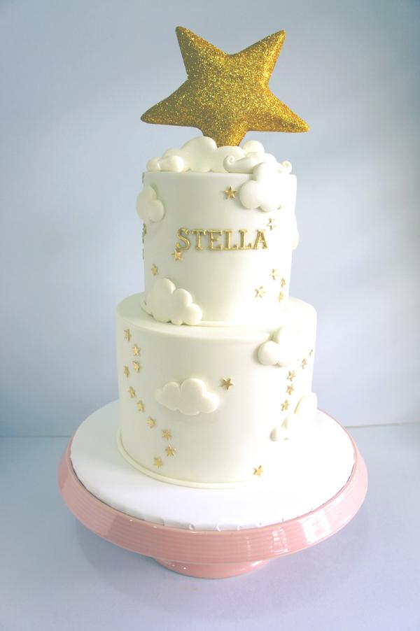 Gold Star fondant Baby Cake