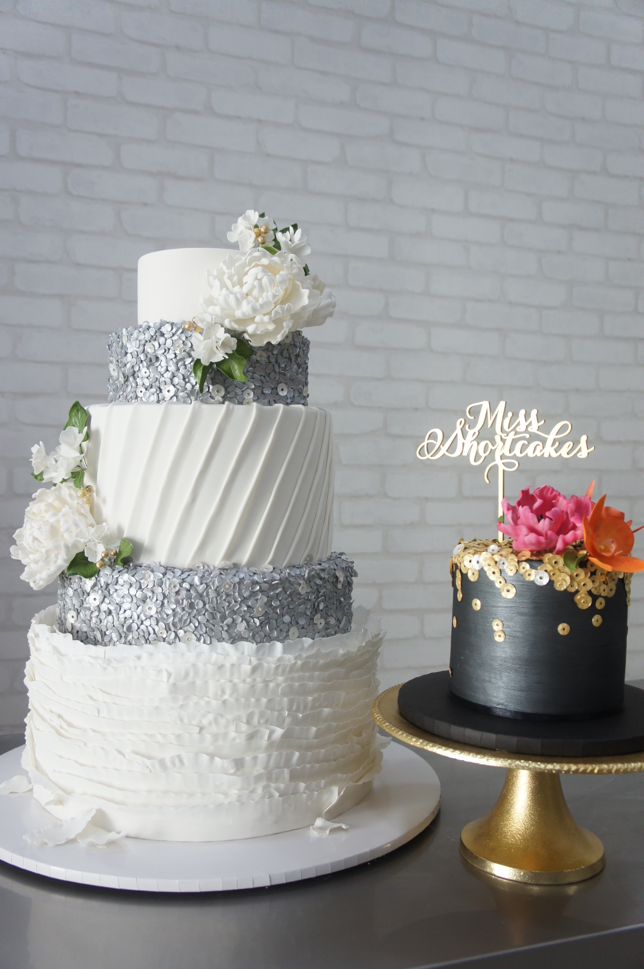 Silver sparkle and white fondant wedding cake
