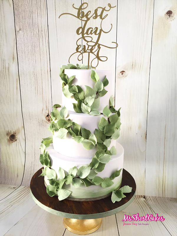 gum paste Eucalyptus Greenery on white fondant Wedding cake