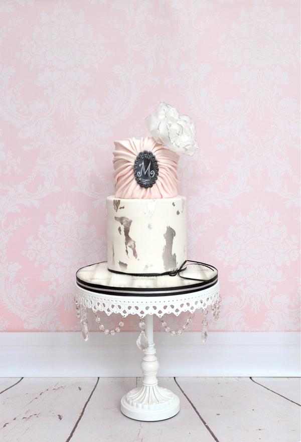 Baby pink Vintage Wedding cake