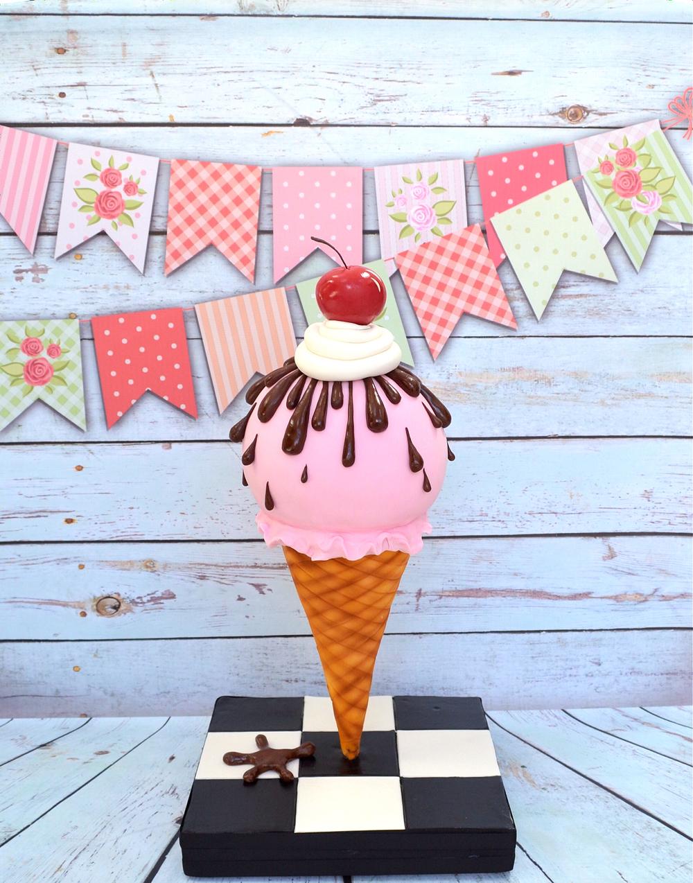 Gravity Defying Ice Cream Cone Cake