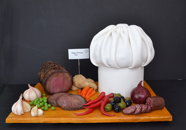 Fondant sculpted board of meat
