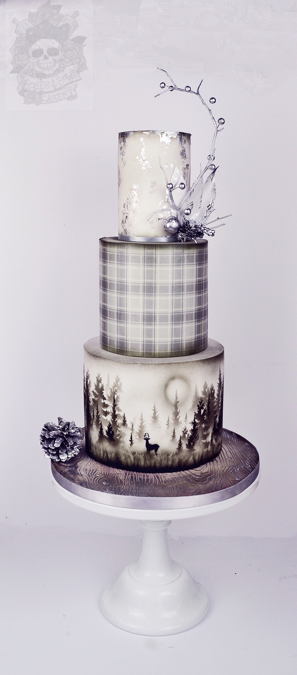 Woodland white fondant Wedding cake