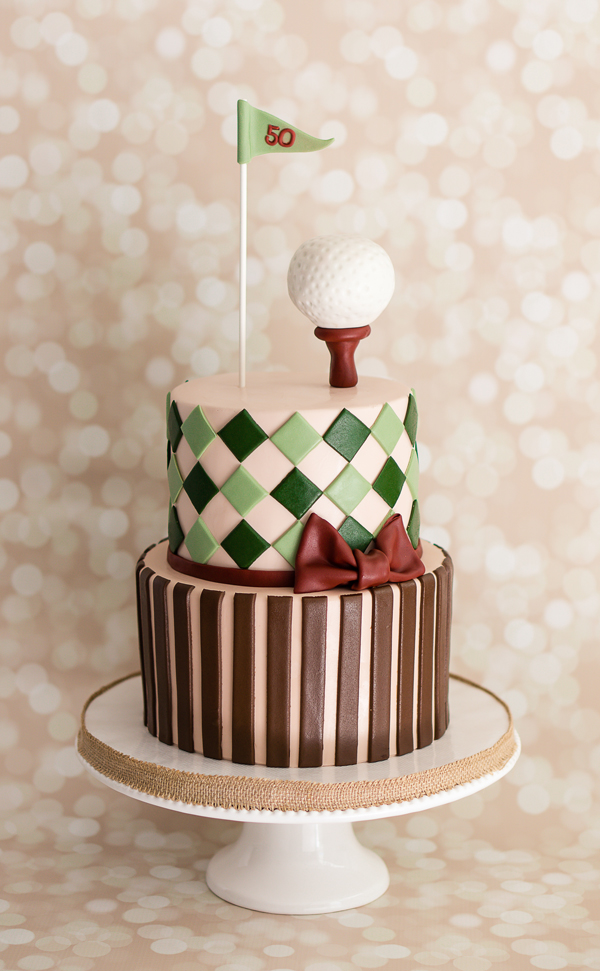 Golf themed fondant birthday Cake