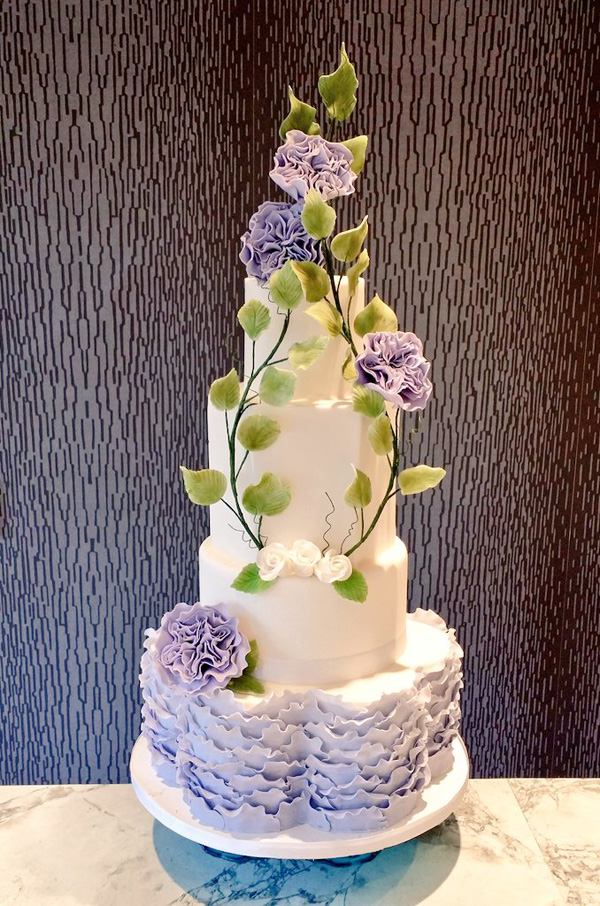 Lavender and white ombre Ruffle Wedding cake