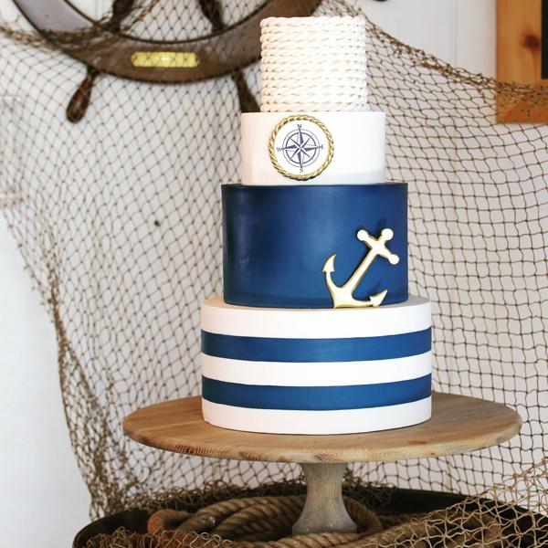 Navy blue and white Striped Nautical fondant Wedding cake