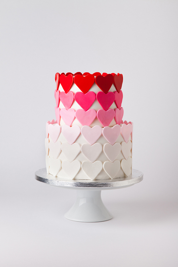 Heart patterned Ombre fondant Cake