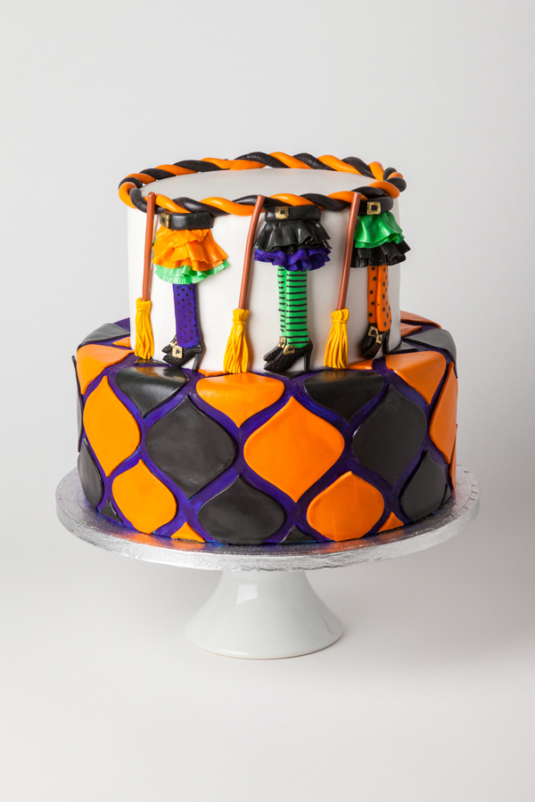 Colorful Witches Broomsticks fondant cake