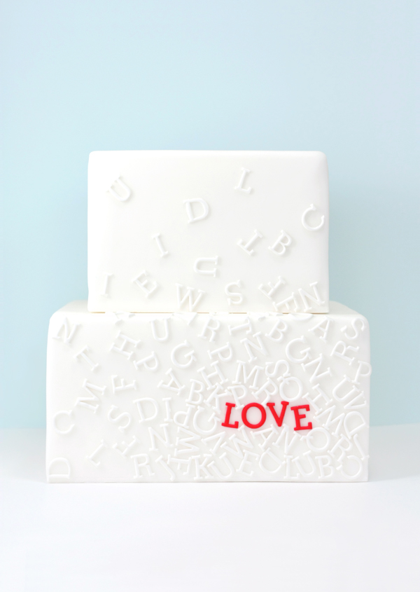 White Square fondant cake with Love monogram