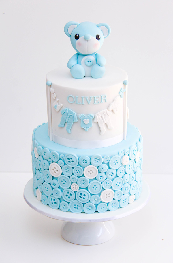 Baby blue Button Baby Shower fondant cake