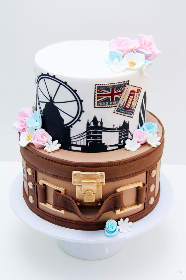 Around the World fondant Wedding cake