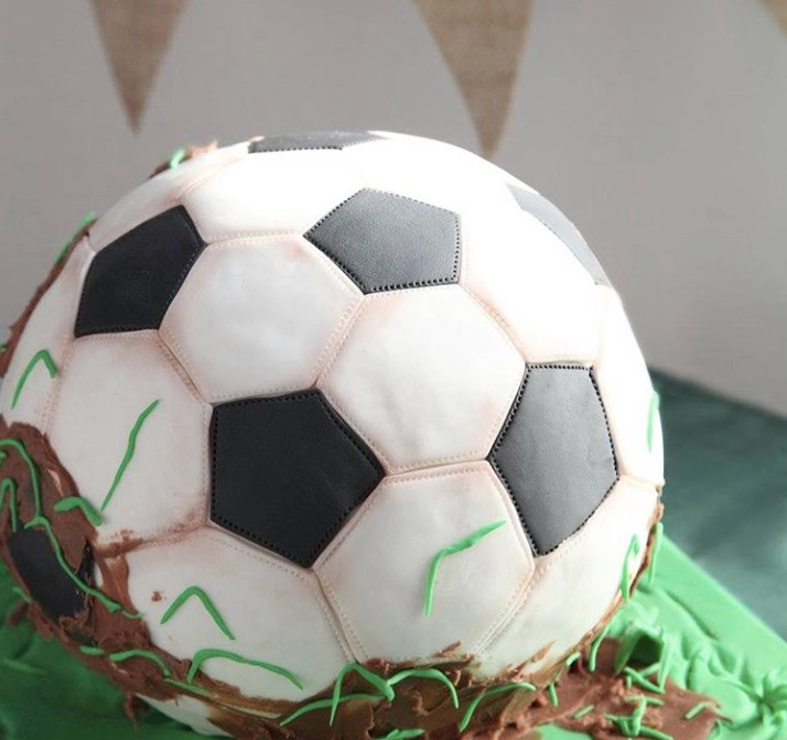 Soccer ball fondant birthday cake