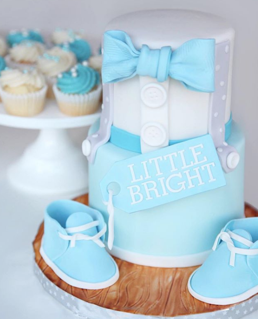 Baby blue and white bowtie fondant cake