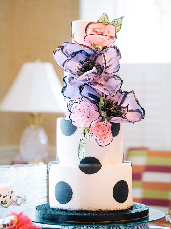 Black & White Polka Dot wedding cake