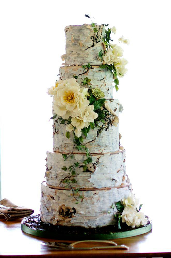 Silver birch tree effect fondant wedding cake