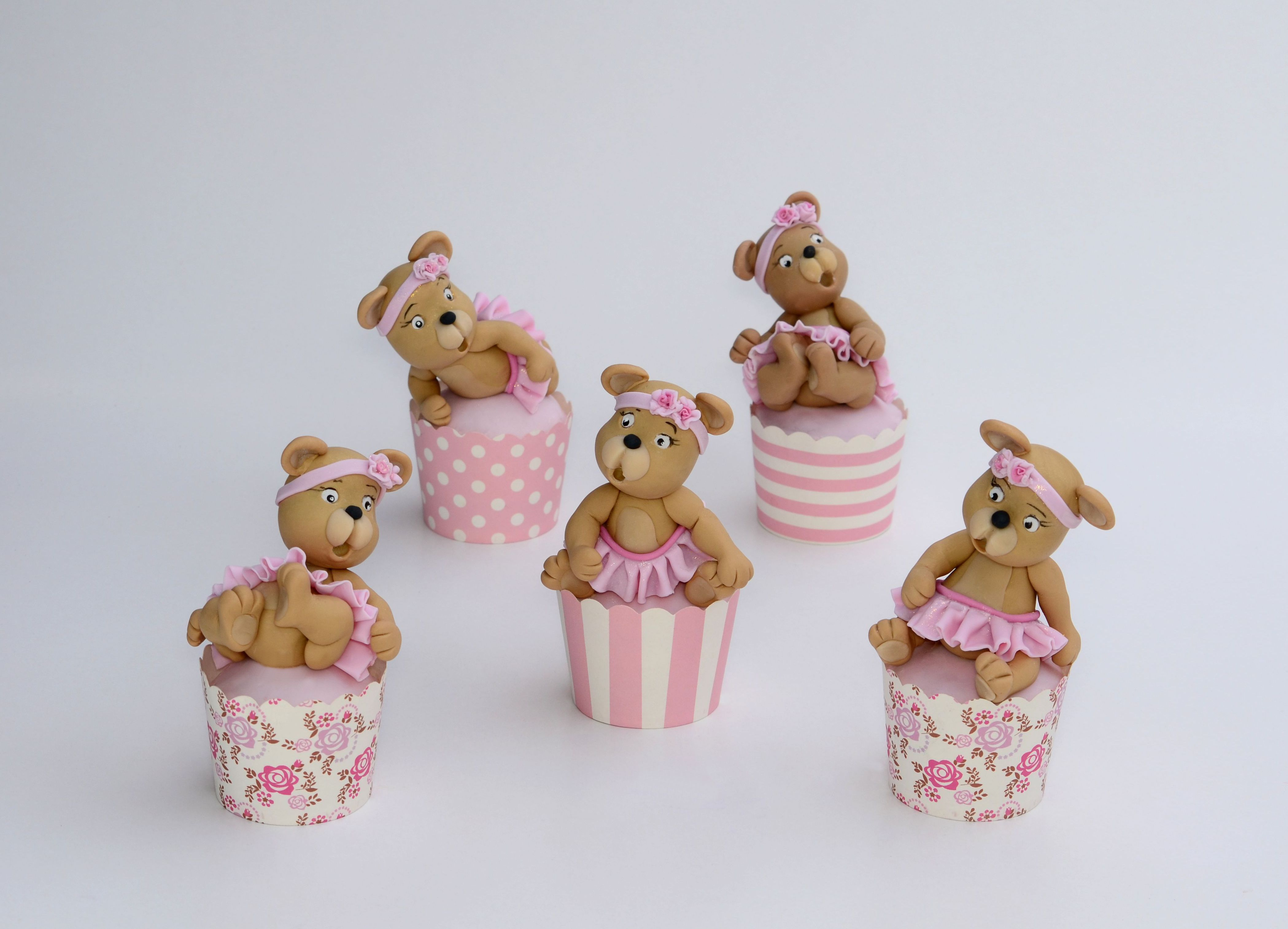Fondant Teddy Bear Cupcake toppers