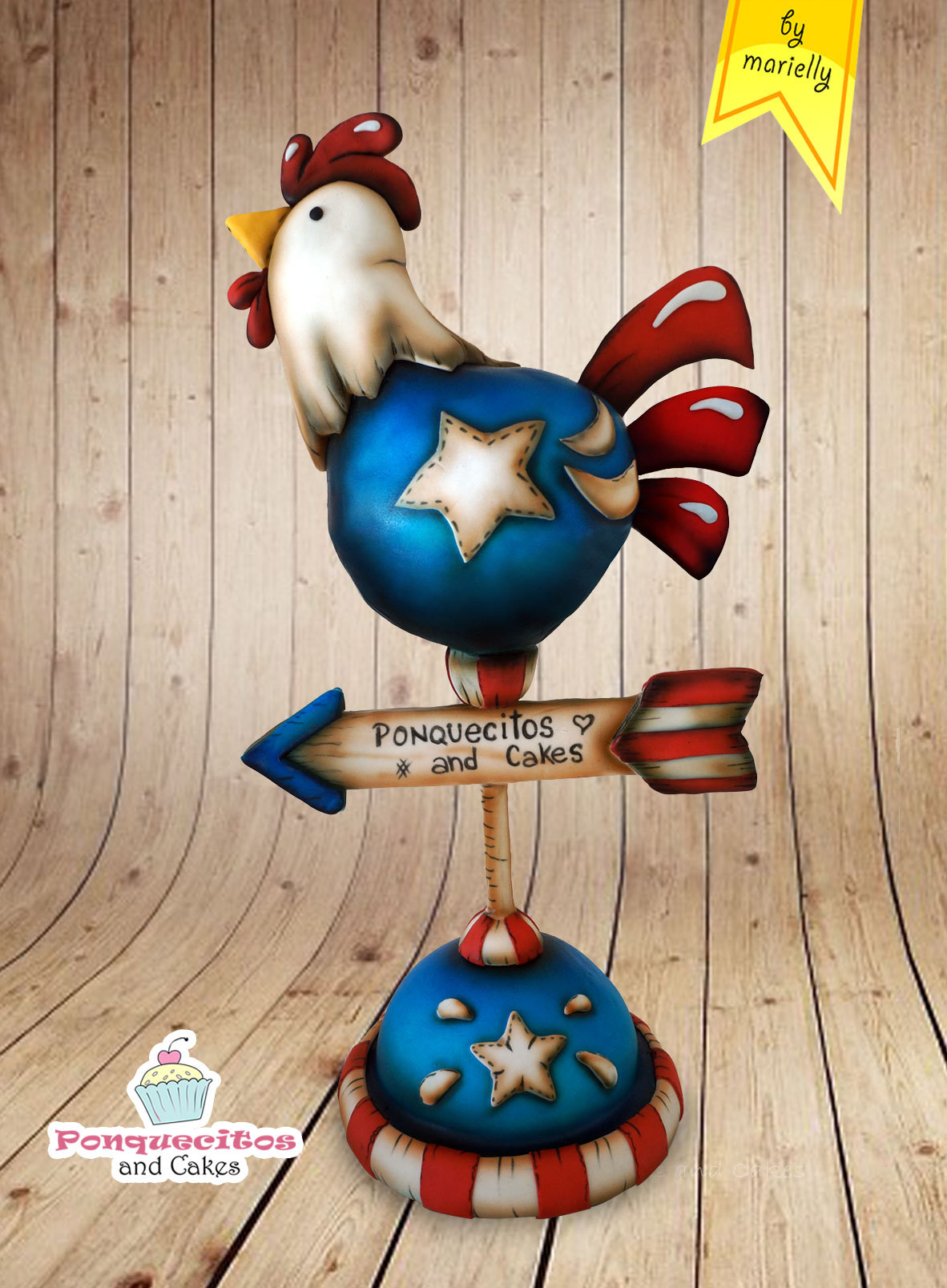 Gravity Defying americana fondant rooster