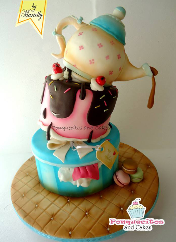 Topsy Turvy Tea Pot Cake
