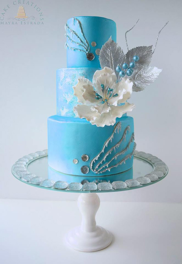 Icy blue fondant wedding cake