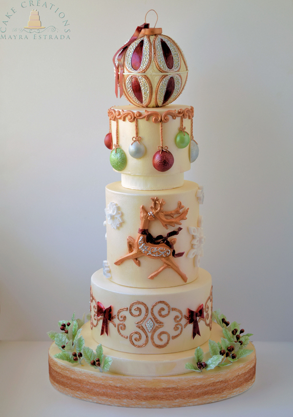 Ivory fondant cake with christmas ornaments