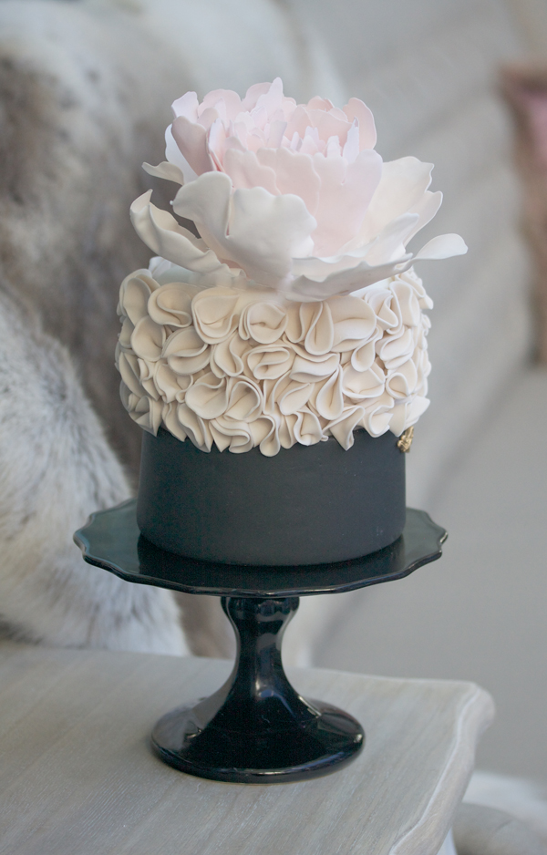 Black and white ruffled fondant cake