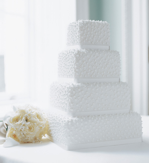 White Pearl textured fondant Wedding cake