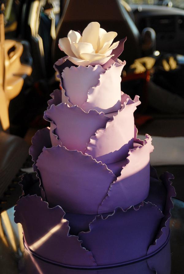 Purple scalloped cake