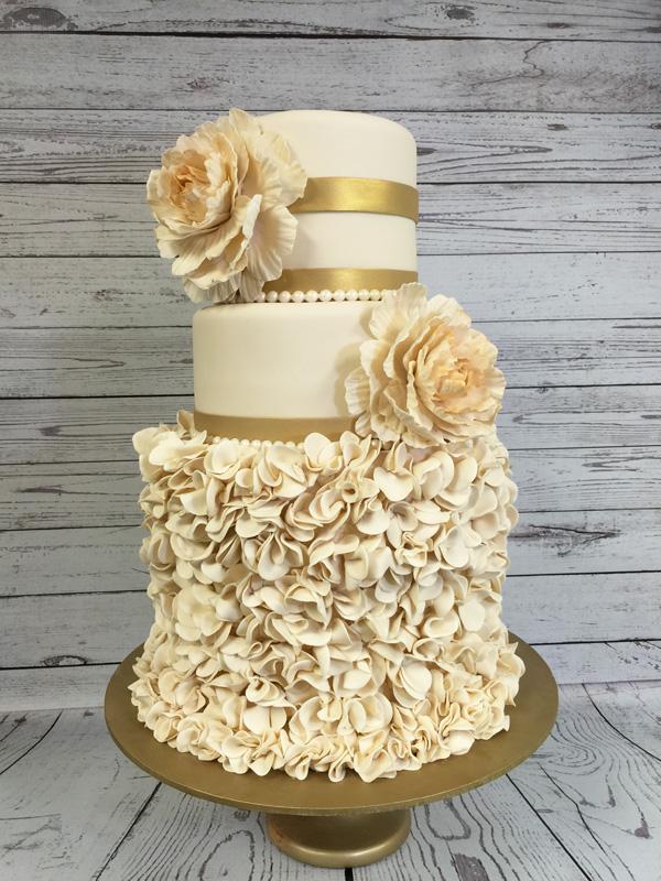 Vintage Ivory Ruffle fondant Wedding cake