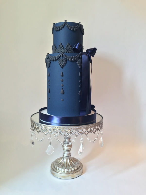 Gothic Navy blue fondant Wedding cake
