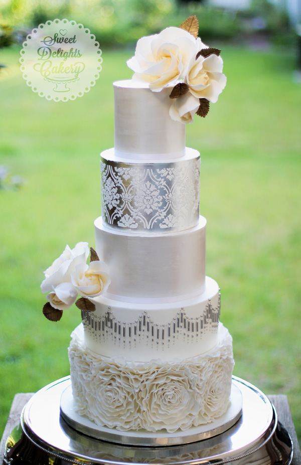Silver fondant Wedding cake with sugar flowers