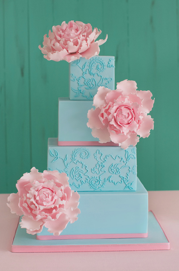 Baby Blue Wedding cake with pink sugar flowers