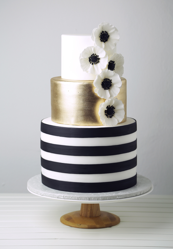 Black and White Striped fondant wedding cake with gold