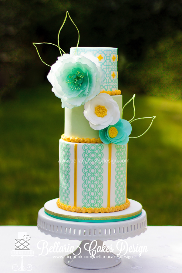 pastel green patterned Wedding Cake